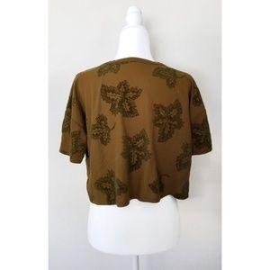 Zara Leaf Felt Crop Top Small